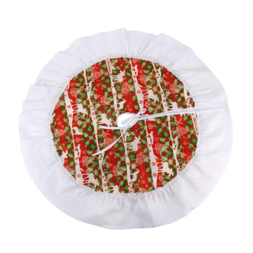 weijij 62cm Red Green Christmas Tree Skirt Country Christmas Whimsical Santa Round Mat Carpet Holiday Xmas Tree Merry Christmas Decor Decorations Indoor Outdoor (Multi)