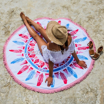 150*150cm 100% microfiber printed round beach towel with tassel
