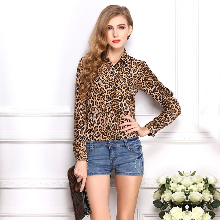 391b65edd44 Get Quotations · 2014 New Fashion Women Wild Leopard Print Chiffon Blouses  Casual Leopard Blouse Shirt Full Sleeve Blusas