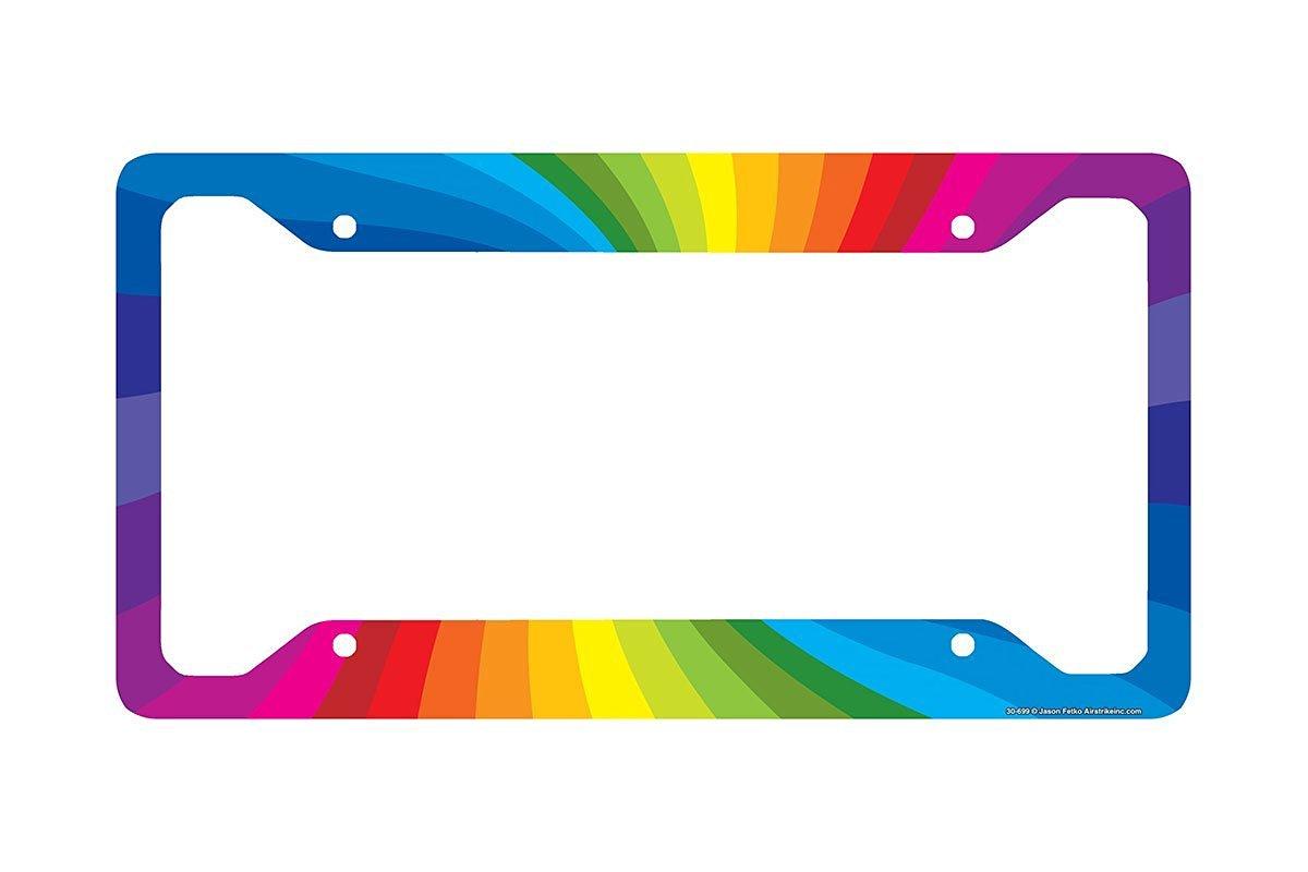 Airstrike Rainbow License Plate Frame, Rainbow Car Tag Frame, Rainbow License Plate Holder, Cute License Plate Frame-30-699