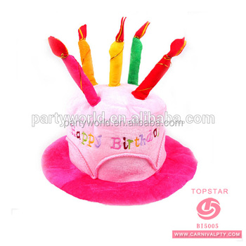 Adult Happy Birthday Cake Party Hat With Candle