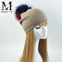 Wholesale Wool Blend Knitted Hat with Real Fur Pom Wholesale Cashmere Beanie Hats with A Ball