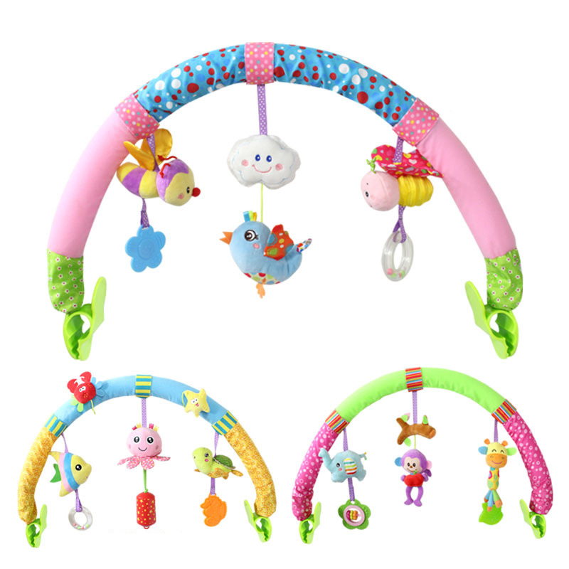 Baby stroller toy crib clip baby bed cartoon music animal toys