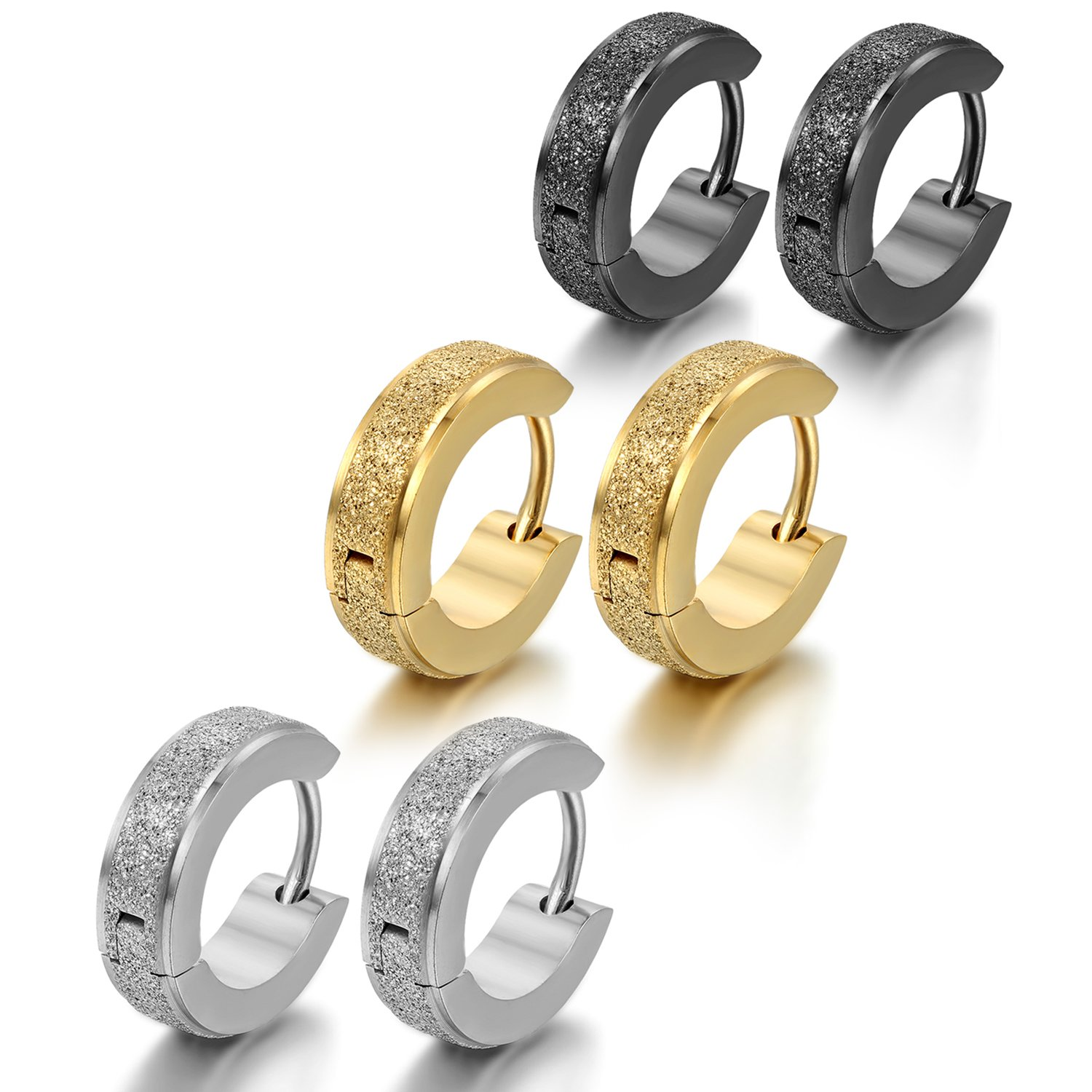 Oidea 6pcs 4MM Stainless Steel Hinge Hoop Earrings,Assorted Color Gold, Silver ,Black,Hypoallergenic
