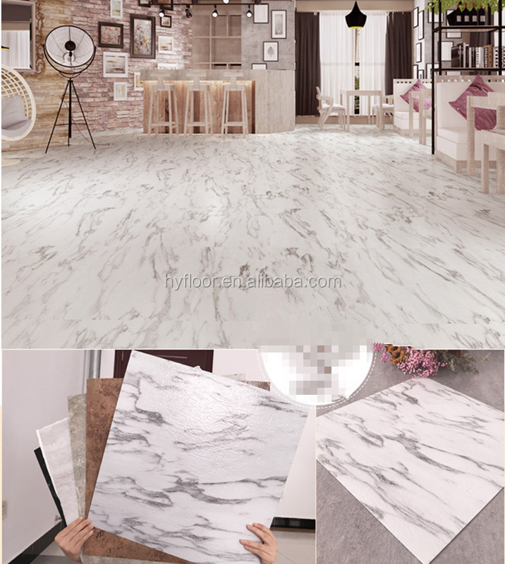 Stone Pattern Vinyl Flooring Marble Look 2mm 3mm Thickness Tile Floor Design Pvc Commercial