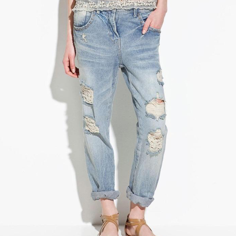 quality first exceptional range of colors buy best Brand Ripped Jeans For Womens Light Blue Washed Hole Loose Boyfriend Style  Rivet Cotton Denim Jeans Pants Female Plus Size