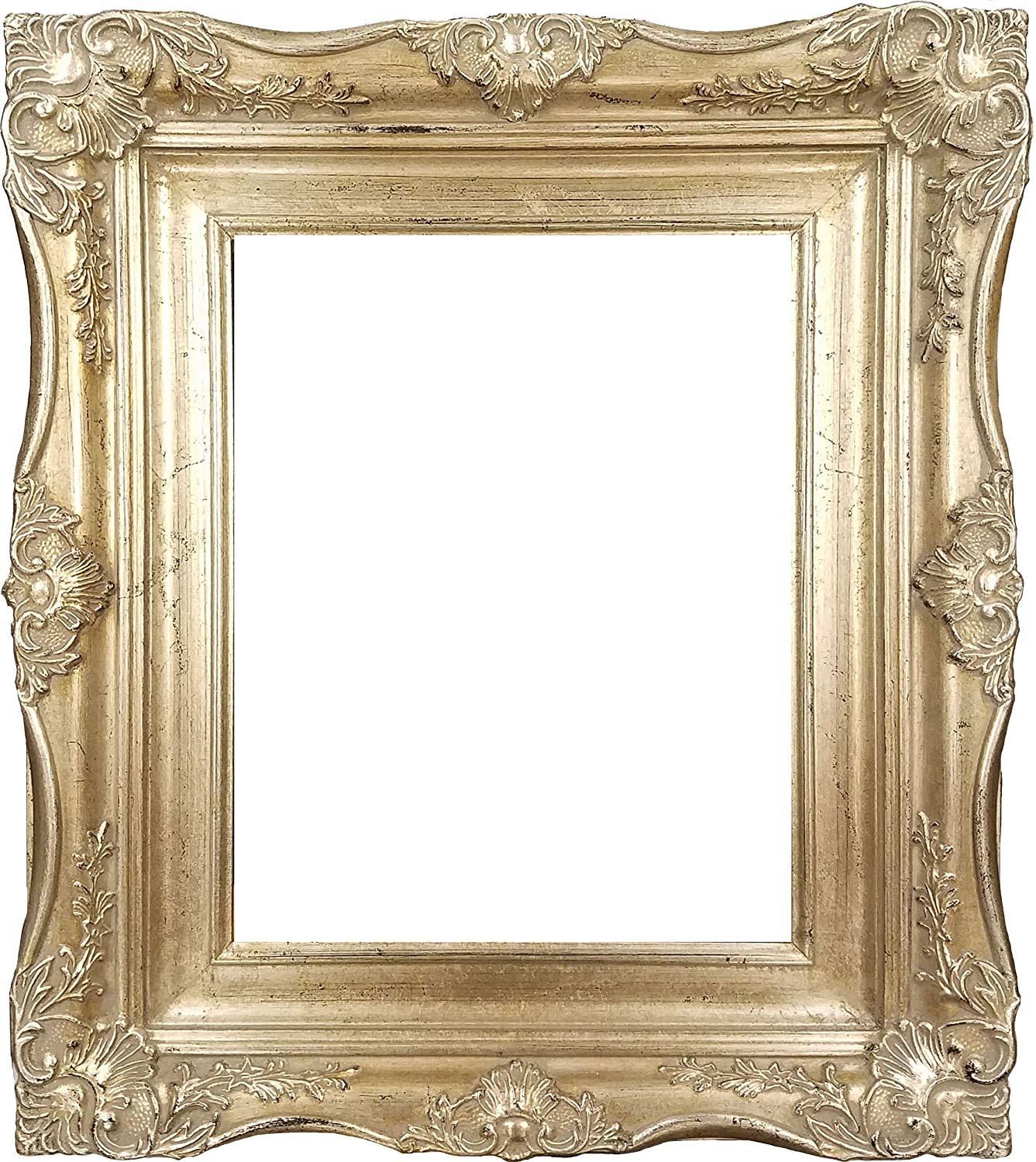 "4"" Vintage Ornate Baroque French Silver Picture Frame (8x10 Inch)"
