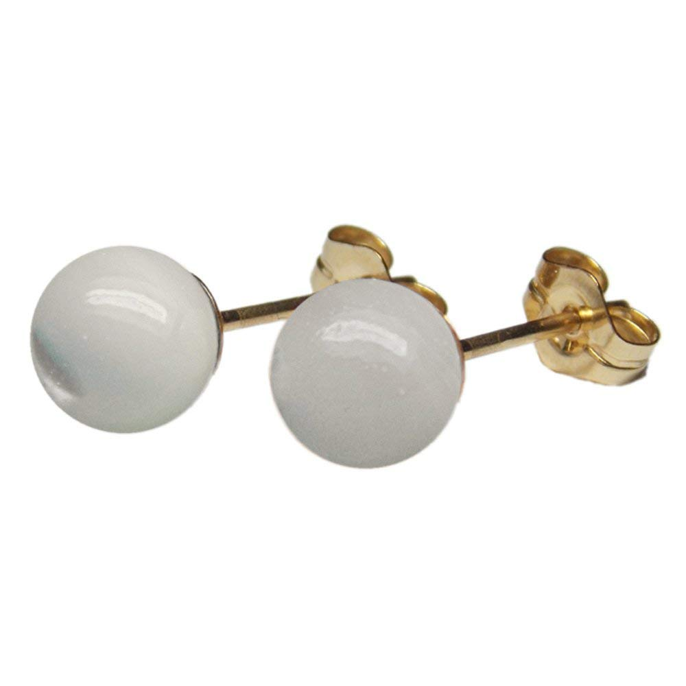 6mm Genuine White Mother of Pearl MOP Gemstone Bead / Ball / Sphere 14k Yellow Gold Filled GF Ear Stud Earrings Pair