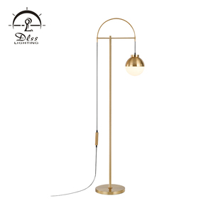 Modern stand lighting hanging glass ball line luxury gold iron floor lamp