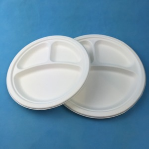 "Biodegradable 9"" 10"" Eco Bagasse Sugar Cane 3 Compartments Dinner Round Plate"
