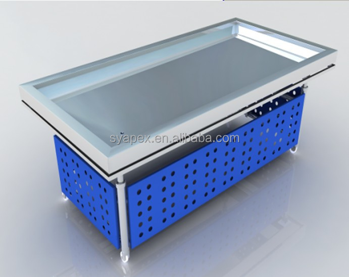 Superior APEX Factory Custom Make Stainless Steel Ice Fresh Refrigerated Table Top  Seafood Fish Display Counter Refrigerator