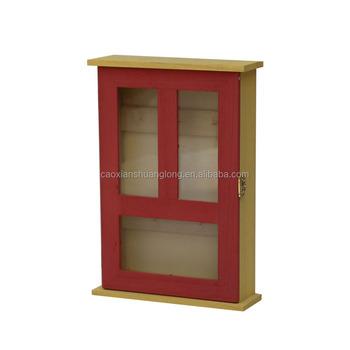 FSC 100% Wooden Key Cabinet With Hooks