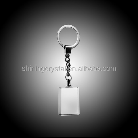 Rectangle crystal glass Keychain with LED lights