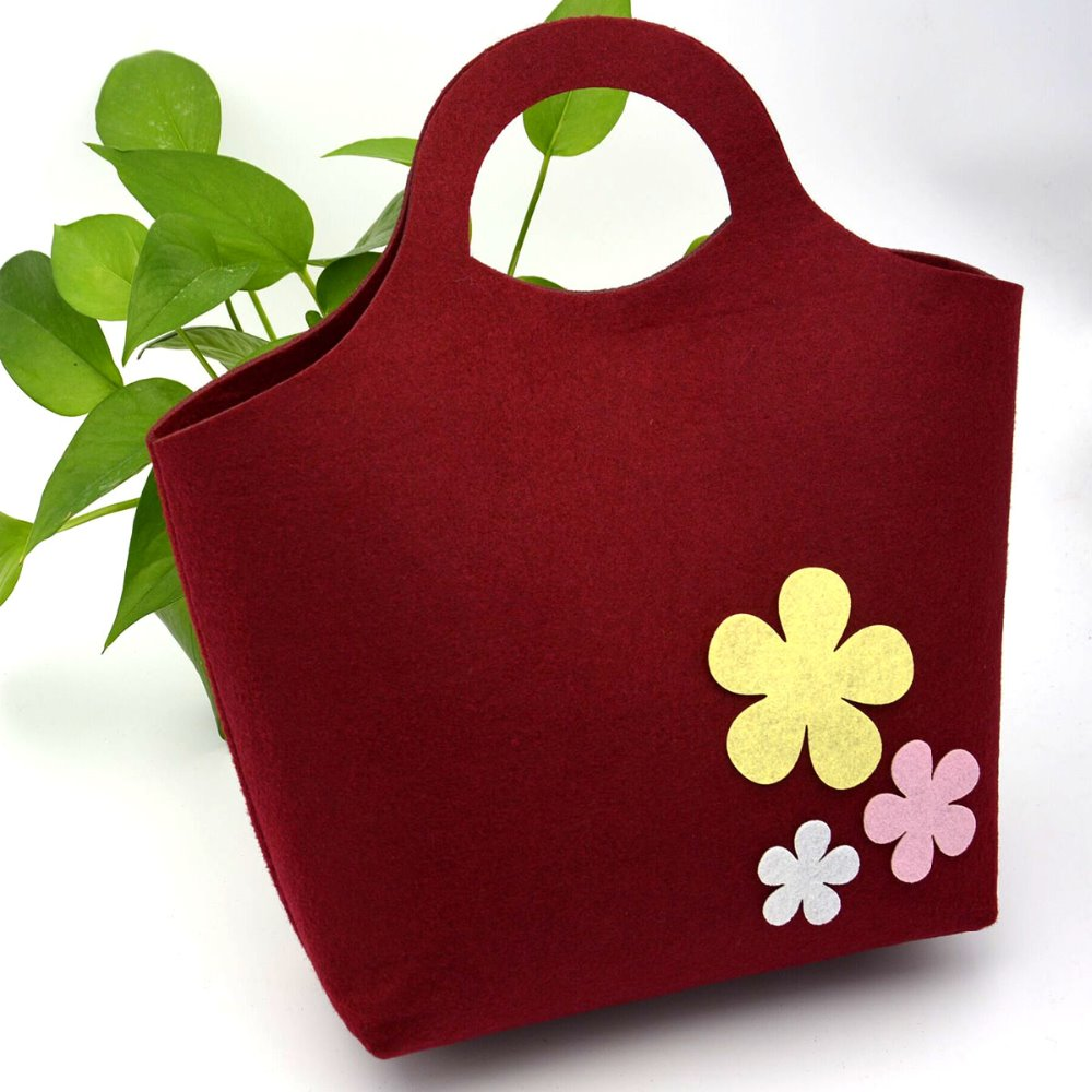 wholesale fashional flower decoration women ladys felt bag tote handbag