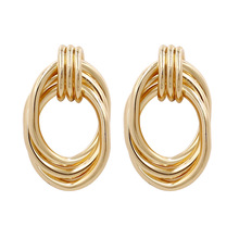 Creative European and American woven metal earrings gold simple versatile earrings Charm Earrings