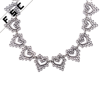 Cheap Heart Shaped Vintage Antique Silver Tibetan Statement Alloy Choker Necklace