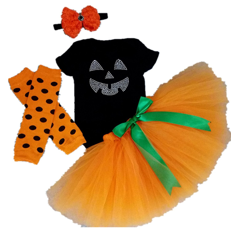 81fc9e85d AISHIONY Baby Girls 1st Halloween Tutu Onesie Costume Newborn Dress 4PCS S
