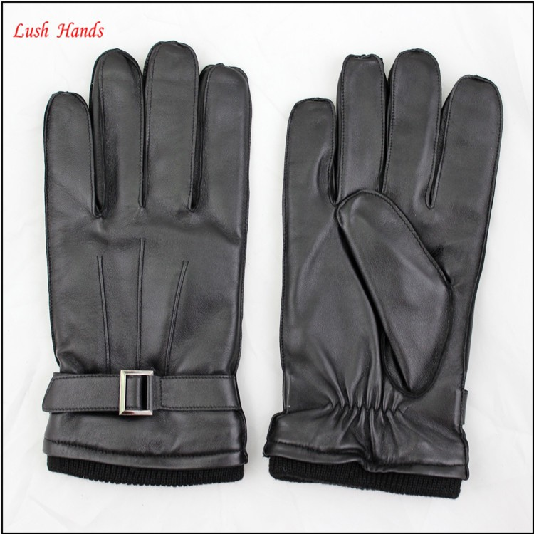 Mens wholesale sheepskin black leather gloves