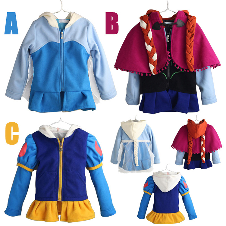 Halloween Costume Kid Girl Coat Cosplay Snow White Princess Zipper Hoodie Jacket