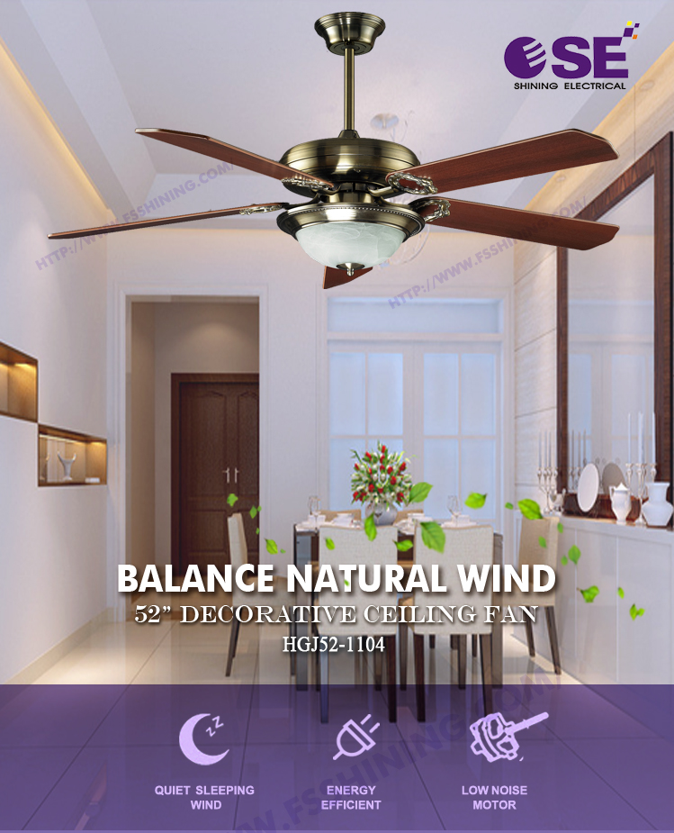 Electronic china wooden bluetooth decorative ceiling fan with single chandelier