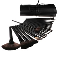 24 Piece pcs Black Make Up Brush Set with Portable Case from shenzhen factory