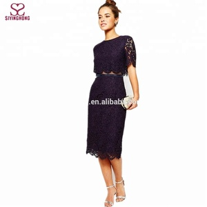 2016 new designs stylish elegant floral lace fabric lace midi dresses for sexy women