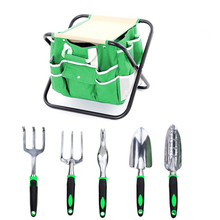 folding tool bag with Folding Stool and 5 Tools Garden Tool Set