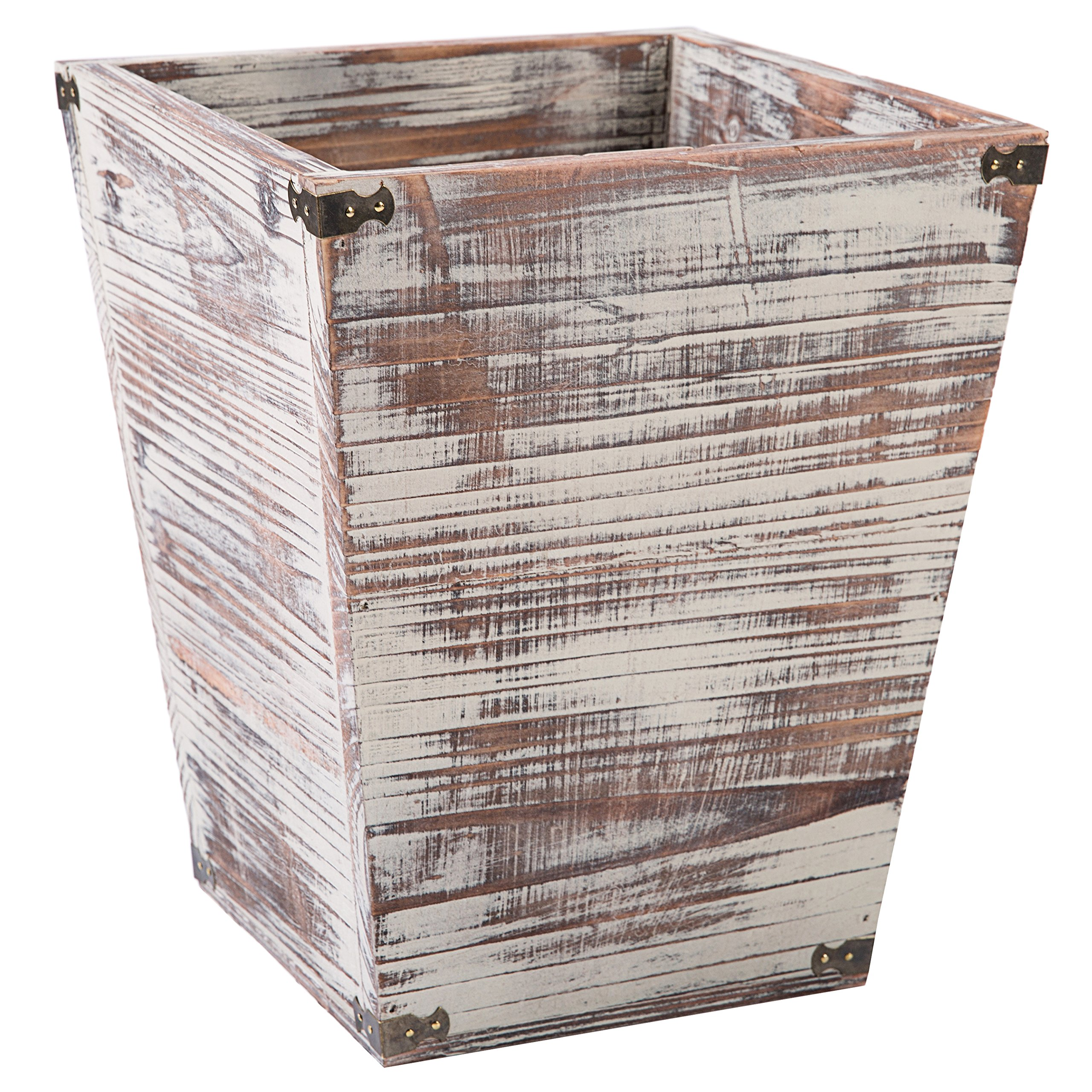 Farmhouse Style Torched Wood Square Wastebasket Bin with Decorative Metal Brackets