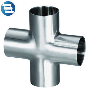 Sanitary Grade Clamp Cross Stainless Steel Four Way Pipe Fittings