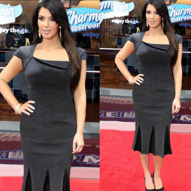 2015 New Kim Kardashian Short Sleeve Knee Length Plus Size
