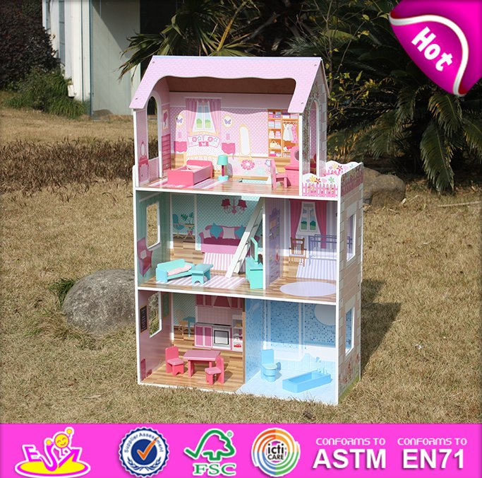 Pink wooden toy doll house for kids,wooden toy DIY doll house for children,lovely wooden dollhouse toy for baby W06A018