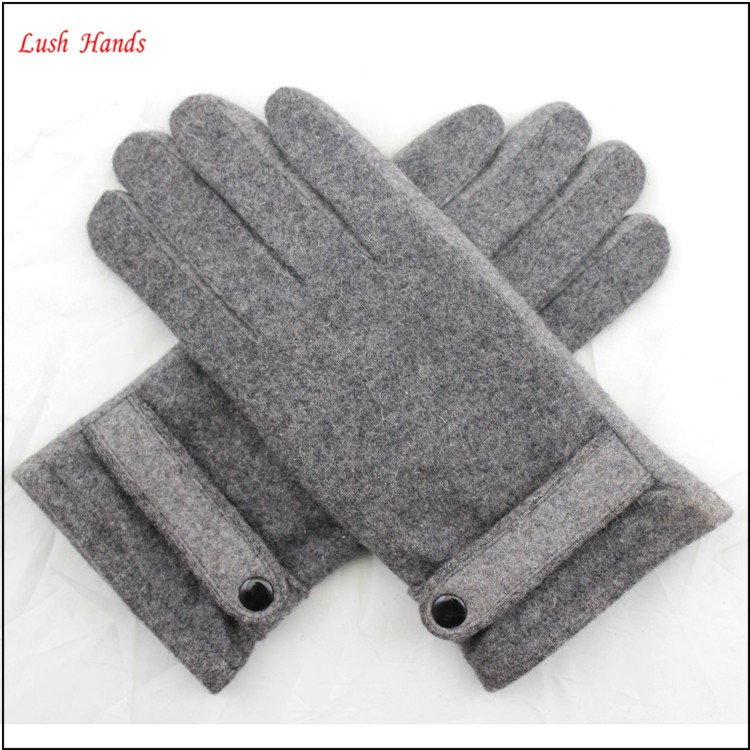ladies fashion grey woolen hand gloves women with belt