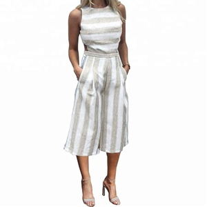 Fashion Design Custom White Fitted Linen Jumpsuit Women