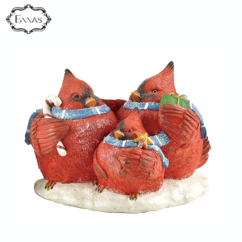 Christmas Family Faux Red Birds Resin Figurine Decoration