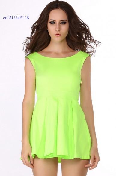 Get Quotations · Free Shippping Sexy Neon Sleeveless Cute Dress Belt Dress  Pleated Dress Green Orange Party Dress bf6d081e3