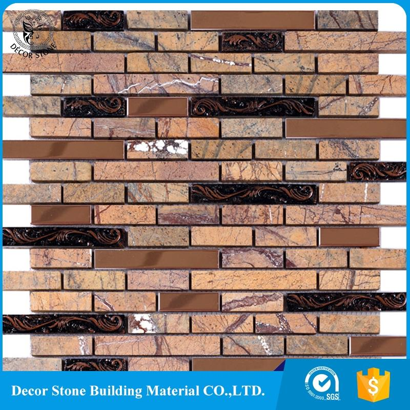 Rainforest Brown Marble Stone Tumbled Mosaic Tile