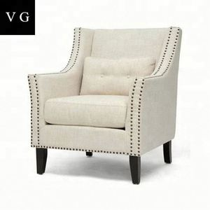 Nailhead leisure sofa chairs/antique high back sofa chair/vintage fabric tub chair