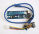 4pin Pci-e x16 riser debug card with power supply cable / PCI-e 1x to 16x adapter pci-e 60cm usb 3.0
