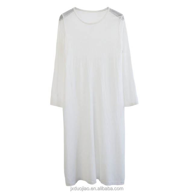 Summer Girl Knit Casual White Dress With Long Sleeve