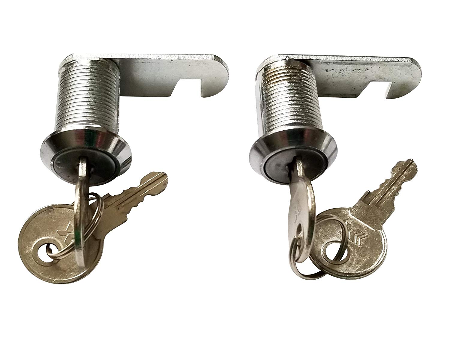 7/8 inch or 25mm Cam Lock with Flat Keys. 25mm 7/8 Cylinder and Chrome Finish, Keyed Alike (Pack of 2)