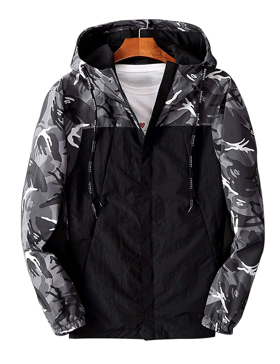 82d2aedeac6c Get Quotations · Zoulee Men s Front-Zip Jacket Sportswear Windrunner Jacket  Camo