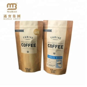 Custom 12oz Private Label Printing Standup Resealable Zipper Foil Lined Kraft Paper Coffee Bag With Valve