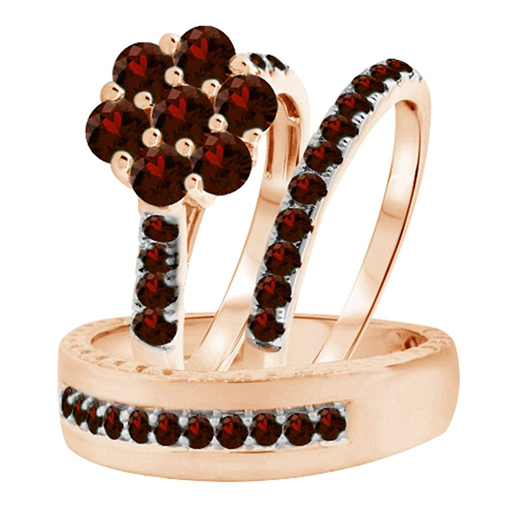 Silvergemking 14k Rose Gold Over Red Garnet His & Her Flower Engagement & Wedding Trio Ring Set