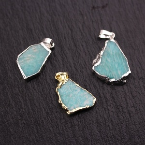 AM-YDSS124 Silver Gold Plated Slice Stone Pendant Natural Amazonite Slab Pendant