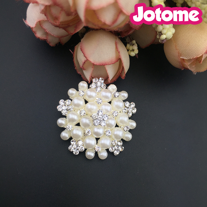 Flower Pearl Rhinestone Embellishment Flat Back Buttons for Wedding Crafts