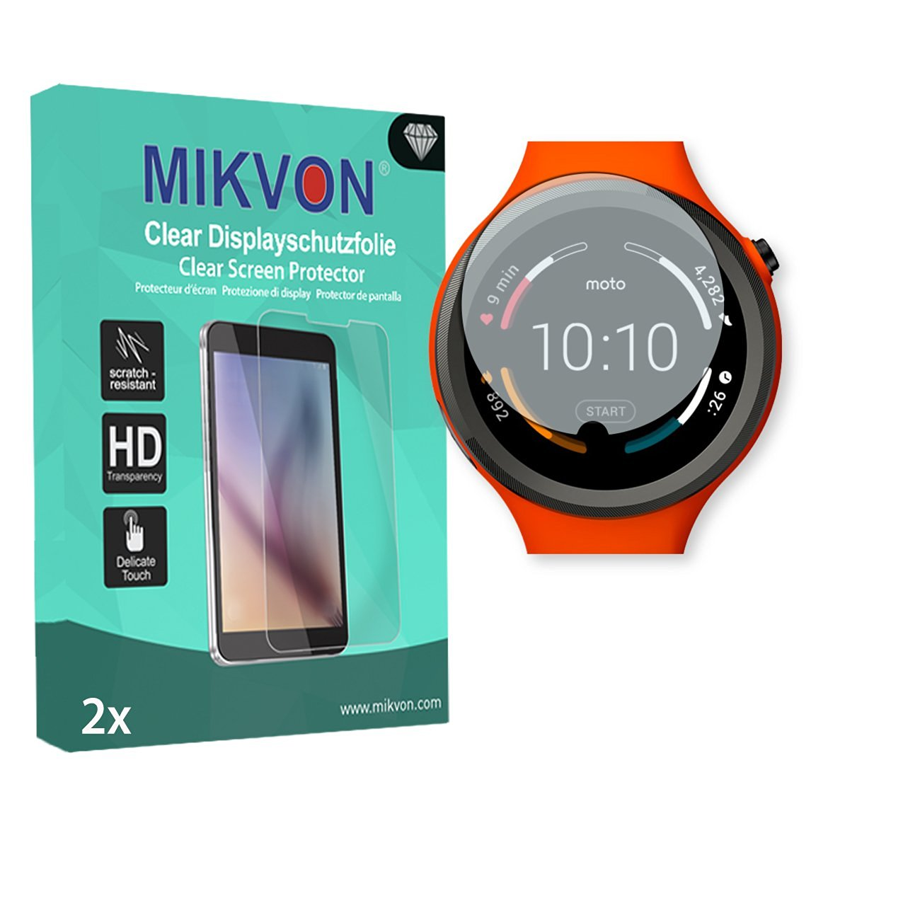 2x Mikvon Clear Screen Protector for Motorola Moto 360 Sport Smartwatch - Retail Package with accessories (intentionally smaller than the display due to its curved surface)