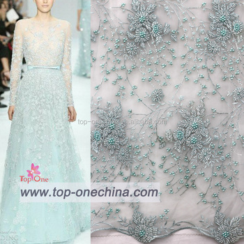 Top Fashion Wedding Dress French Lace Fabric Bride Beads Sequined Tulle Lace  Fabric