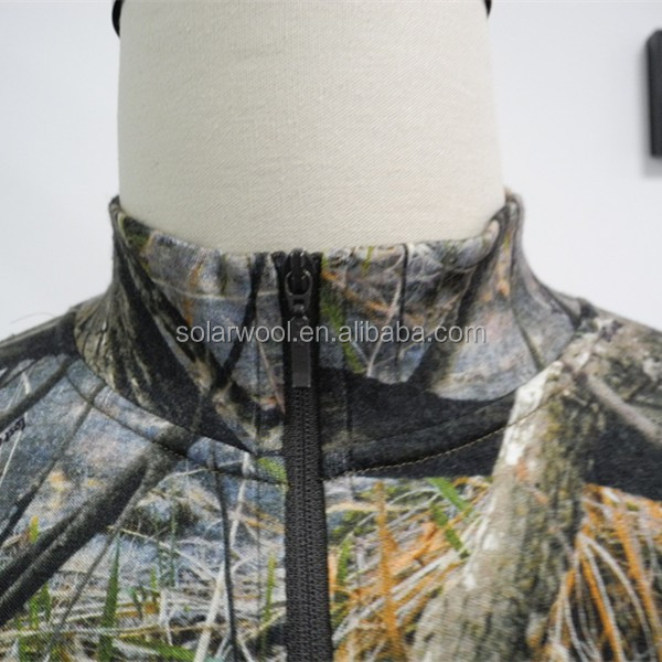 Laine mérinos homme chasse camouflage T-shirt