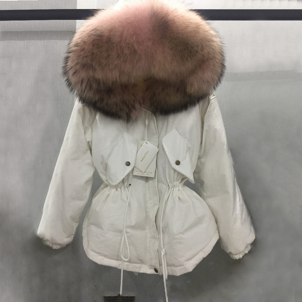 Fashion winter women fur hooded parka down lining with raccoon fur collar