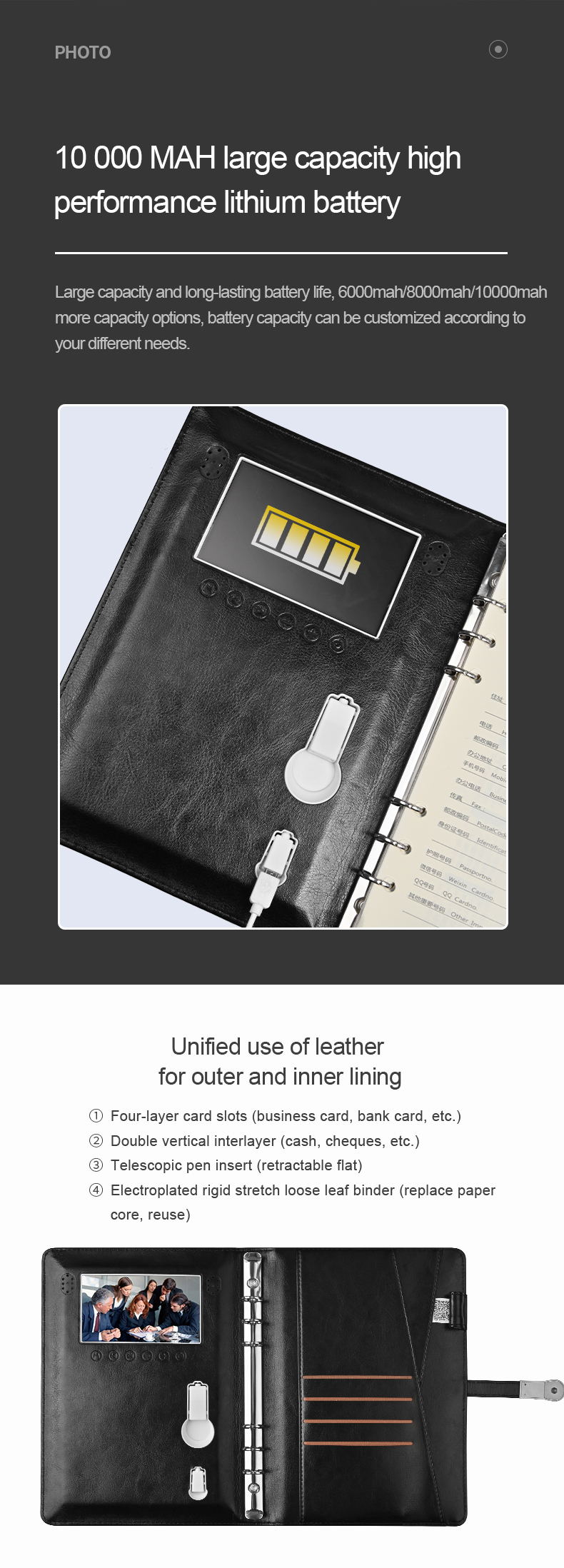 High Quality Pu Leather Power Bank Wireless Charging Notebook With U Disk And Video
